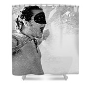 Superboy Of Peachtree Black And White Shower Curtain