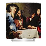 Supper At Emmaus Shower Curtain by Bernardo Strozzi