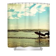 Surf At Sunset Shower Curtain