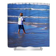 Surf Casting Shower Curtain by David Lane