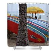 Surfboards On Waikiki Beach Shower Curtain