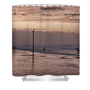 Surfers Pelicans And Pink Sky Shower Curtain