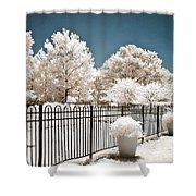 Surreal Michigan Infrared Nature - Dreamy Color Infrared Nature Fence Landscape Michigan Infrared Shower Curtain