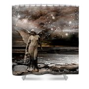 Surreal Fantasy Celestial Angel With Stars Shower Curtain