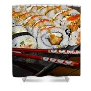 Sushi And Chopsticks Shower Curtain