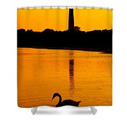 Swan Sunset At The Light Shower Curtain