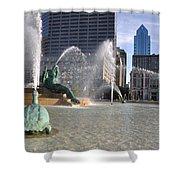 Swann Memorial Fountain In Philadelphia Shower Curtain