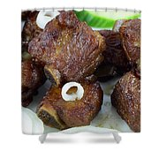 Sweet And Sour Ribs Chinese Food  Shower Curtain by Paul Ge
