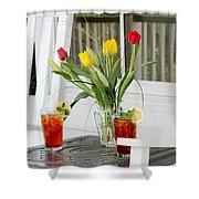 Sweet Tea And Tulips Shower Curtain