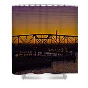 Swing Bridge Sunset Shower Curtain