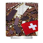 Swiss Chocolate Shower Curtain by Joana Kruse