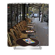 Tables Outside A Paris Bistro On An Autumn Day Shower Curtain