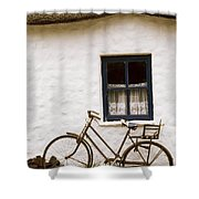 Tahtched Cottage And Bike Shower Curtain
