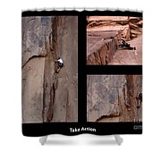 Take Action With Caption Shower Curtain