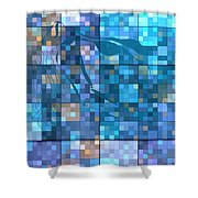 Take Me Geometric Blue Shower Curtain