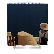 Taking In The View Santorini Shower Curtain