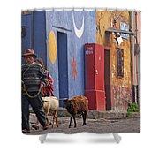 Taking Sheep To Market At Chichicastenango Shower Curtain