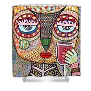 Talavera Feather Owl Drinking Red Wine S Shower Curtain