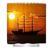 Tall Ship At Sunset Shower Curtain