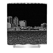 Tampa Panorama Digital - Black And White Shower Curtain