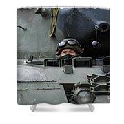 Tank Driver Of A Leopard 1a5 Mbt Shower Curtain by Luc De Jaeger