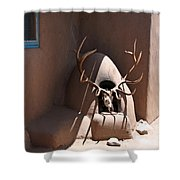 Taos Horno And Antlers Shower Curtain