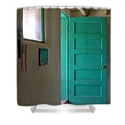 Taos Pueblo Shop Door Shower Curtain