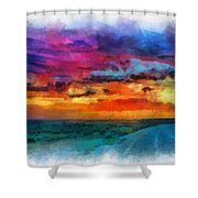 Taos Sunset Iv Watercolor Shower Curtain