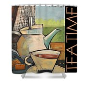 Tea Time Poster Shower Curtain