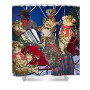 Teddy Bear Band Christmas Shower Curtain