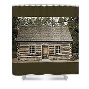 Teddy Roosevelt's Maltese Cross Log Cabin Retro Style Shower Curtain