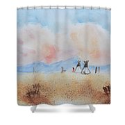 Teepees - Watercolor Shower Curtain