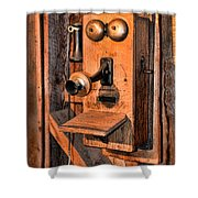 Telephone - Antique Hand Cranked Phone Shower Curtain