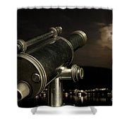Telescope And Red Moon Shower Curtain