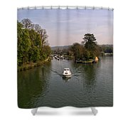 Temple Lock On The River Thames Shower Curtain
