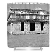 Temple Of The Turtles At Uxmal Mexico Black And White Shower Curtain