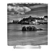 Tenby Harbour 1 Mono Shower Curtain