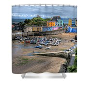 Tenby Harbour In Summer Shower Curtain