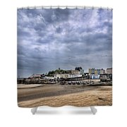 Tenby Harbour Low Tide Shower Curtain