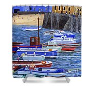 Painting Tenby Harbour With Boats Shower Curtain
