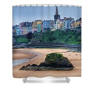 Tenby Over North Beach Painted Shower Curtain