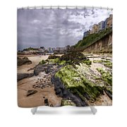 Tenby Rocks Painted Shower Curtain