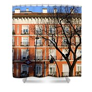 Tenement House Facade In Madrid Shower Curtain