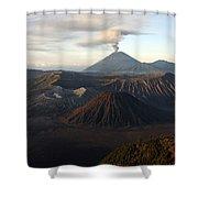 Tengger Caldera With Erupting Mount Shower Curtain