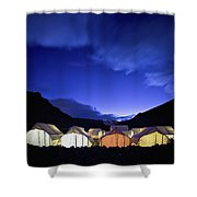 Tents Illuminated In A Valley At Night Shower Curtain