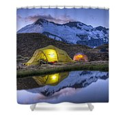 Tents Lit By Flashlight On Cascade Shower Curtain