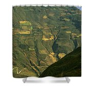 Terraced Fields Above Canyon Draining Shower Curtain