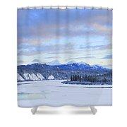 Teslin River At Sunset, Teslin, Yukon Shower Curtain