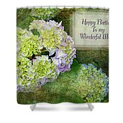Textured Hydrangeas Birthday Mother Greeting Card Shower Curtain