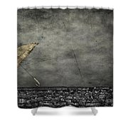 Th E Red Umbrella Shower Curtain by Empty Wall
